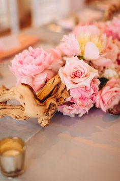 Check out this amazing wedding inspired by driftwood, roses, and other beachy decor with glam touches. There's more goodness where this photo came from, just visit www.ThatBridalBlush.com for more wedding inspiration and advice with a side of sarcasm.