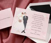 T 325  price per 100: $89.90  This invitation is perfect for a modern-day couple! The bride has left traces of lipstick in the shape of a heart on the groom's cheek!