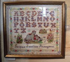 A 19th Century Spanish Sampler /Stitched By Josefina Munagorri & Dated 1891