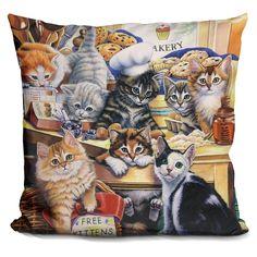 Lilipi Kitty Bakery Decorative Accent Throw Pillow, Multi (Velvet)