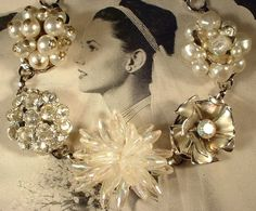 Vintage Ivory Wedding Pearl and Crystal Floral by AmoreTreasure, $39.99