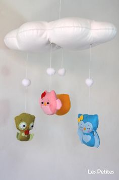 Baby Crib Mobile  Baby Mobile Owl family baby by LesPetitesshop