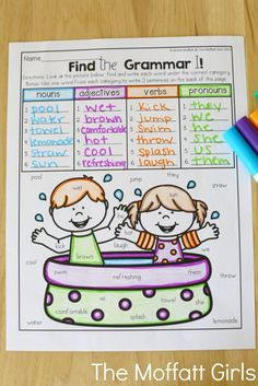 Find the Grammar (parts of speech with nouns, adjectives, verbs and pronouns)- Help your students stay on track during summer break with these FUN activities! Perfect for Grade going into Grade! 2nd Grade Crafts, 2nd Grade Activities, Literacy Activities, Year 2 Maths Worksheets, Summer Worksheets, English Teaching Materials, Teaching English, Summer School Activities, Second Grade Writing