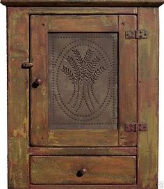 Primitive hanging country reproduction pine pie safe wall cabinet cupboard pine