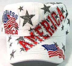 Rhinestone God Bless America Bling Military Cadet Hats Wholesale - White