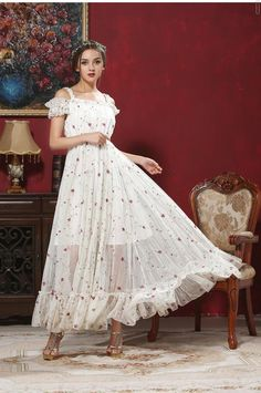 Maxi dress -https://www.cooliyo.com/product/97066/embroidered-gauze-skirt-beach-dress-threedimensional-floral-dress/
