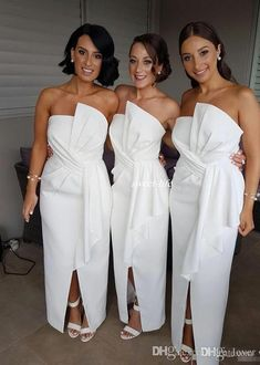 White Bridesmaid Dresses Strapless Western Country Zipper Back African Wedding Party Guest Dresses Pleats Top Full Length Custom Made White Bridesmaid Dresses Long, Bridesmaid Dresses Online, Junior Bridesmaids, Dresses Short, Cheap Dresses, Wedding Party Dresses, Party Gowns, Modest Wedding, Wedding White