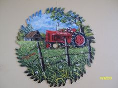 Farmall Tractor painted on Round Blade by by PaintingPlaceStudio, $32.00