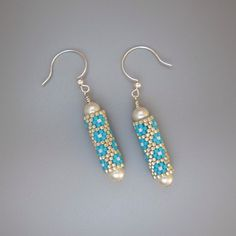 Silver & blue bead tube earrings