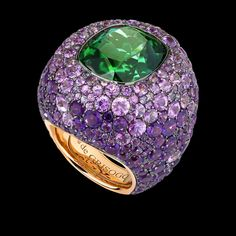 de Grisogono Melody of Colours Ring Pink gold - Cushion-cut green tourmaline -Purple sapphire - Amethyst
