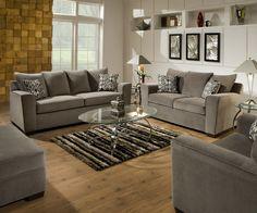 9070 Simmons Roxanne Gunsmoke Sofa and Loveseat - $798 @ www.furnitureurban.com