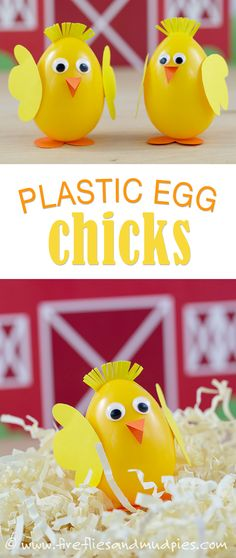 These happy plastic egg chicks just make me smile! What a fun way to delight kids! Making Easter Eggs, Plastic Easter Eggs, Easter Arts And Crafts, Easter Crafts For Kids, Plastic Egg Crafts For Kids, Easter Stuff, Duck Crafts, Diy Ostern, Easter Activities