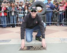 2013- Kyle Busch is happy to share his Auto Club 400 Walk of Fame induction with race fans cheering him on. #KyleBusch #WalkofFame #AutoClubSpeedway #NASCAR