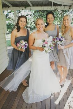Same dress, different shades of grey bridesmaid dresses