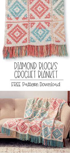 Yarnspirations is the spot to find countless free intermediate crochet patterns, including the Caron Diamond Blocks Crochet Blanket. Crochet Afghans, Crochet Hexagon Blanket, Afghan Crochet Patterns, Crochet Squares, Crochet Stitches, Crochet Blankets, Simple Crochet Blanket, Crochet Home, Crochet Crafts