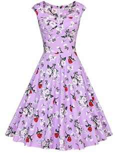 f931683a75b9 Modest Dresses, Strapless Dress Formal, Purple Roses, 1950s Fashion, Swing  Dress, Vintage Ladies, Retro Vintage, 1950s Style, Cap Sleeves