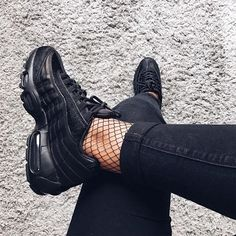 Adidas Women Shoes - Sneakers women - Nike Air Max 95 premium black (©mytrendylifestyle) - We reveal the news in sneakers for spring summer 2017 Adidas Shoes Women, Sneakers Women, Women Nike, Women's Sneakers, Chunky Sneakers, Platform Sneakers, Tumblr Sneakers, Sneakers Fashion, Fashion Shoes