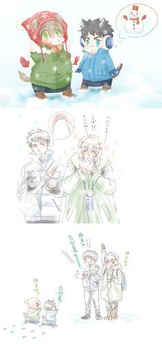 Winter ... From 4_ne_ 8 ... Free! - Iwatobi Swim Club, free!, iwatobi, makoto tachibana, makoto, tachibana, sousuke, sousuke yamazaki, yamazaki, dog, puppy, baymax, big hero 6