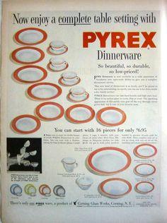 1954 PYREX DINNERWARE - FLAMINGO - LIME - DOVE GRAY - TURQUOISE PRINT AD! #Pyrex