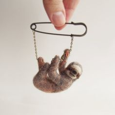 Curious Little Sloth Hand Felted Animal by ShishLOOKdesign on Etsy