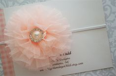 Peach Headband Tulle Headband in Pale Peach  by MyMondaysChild, $7.95