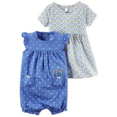 Carters Baby Clothing Outfit Girls 2-Piece Dress & Romper Set Geo Dot Blue