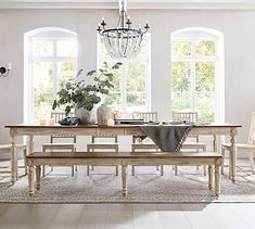 Design a beautiful dining space to entertain friends and family. Pottery Barn's dining tables and chairs are defined by exceptional craftsmanship. Dining Bench, Extendable Dining Table, Dining Room Design, Large Dining Room, Dining Table With Bench, Reclaimed Wood Dining Table, Farmhouse Dining, Dining, Dining Table
