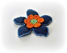 Blue Marine Orange Green Crochet Flower Crochet 3 D by 3 D, Beautiful Crochet, Orange, Crochet Flowers, Spring, Crochet Projects, Jewelery, Crochet Patterns, Green