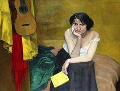 Femme et Guitare, 1913 (oil on canvas), Vallotton, Felix (1865-1925)