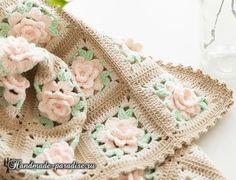 Мотив с розами. Вяжем плед крючком. Схемы для вязания пледа, подушки, накидки,коврика, а также предметов одежды - шали, палантина, блузы или топика.