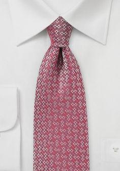 Geometric Spade Design Tie in Red