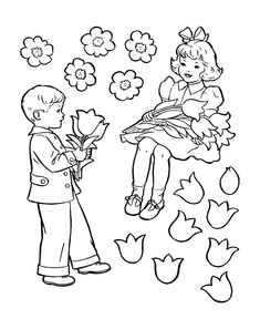Kids Valentine's Day Coloring Pages - CUT-OUT Valentine Flowers Coloring Page | HonkingDonkey