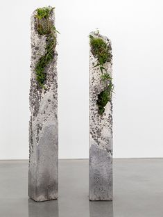 Jamie North, Terraforms 2014. The Inconstant Ones 2014. Cement, marble waste, limestone, steel slag, coal ash, plastic fibre, tree fern slab, various Australian native plants and Spanish moss. 223.0 x 26.0 x 26.0 cm and 191.o x 26.0 x 26.0 cm