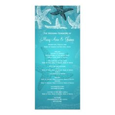 Beach Wedding Program Starfish Blue Invitations Discount Dealstoday easy to Shops & Purchase Online - transferred directly secure and trusted checkout...
