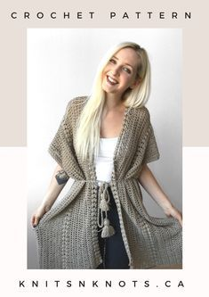 Crochet pattern for oversized puff stitch cardigan. Perfect for the beach or casual summer wear. Double Crochet, Crochet Baby, Knit Crochet, Crochet Chain, Lion Brand, Crochet Scarves, Crochet Clothes, Crochet Sweaters, Crochet Dresses