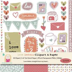 Valentine's Love Letter Clipart & Scrapbooking Set by Dreaming on a Star. SALE - Buy 3 Get 1 FREE