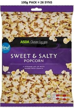 Asda Sweet and Salty Popcorn Syns Slimming World Syns, Asda, Sweet And Salty, Popcorn, Gym, Food, Fitness, Essen, Meals