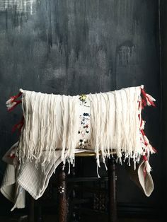 Moroccan Fringe Tassel Pillow Cover | Tribal | Coins | Metal | Handira | Berber | Spice Market | Cotton Canvas | Nursery | Boho | Bohemian