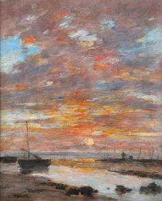 Eugène Boudin : Marée Basse, Coucher de Soleil sur la Mer - c.1885-90