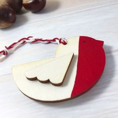 Wooden Red Breasted Robin Christmas Tree Ornament / Decoration by Jellypress on Etsy