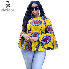 African style pattern of women traditional classical wax printing ink printed cotton hubble-bubble sleeve blouse