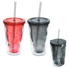 Gothic Cactus Double Walled Cup with Lid and Straw