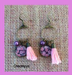 Petites créoles liberty penny rose : Boucles d'oreille par crocmyys