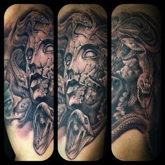 Black and grey Medusa Tattoo by Monkeytoy