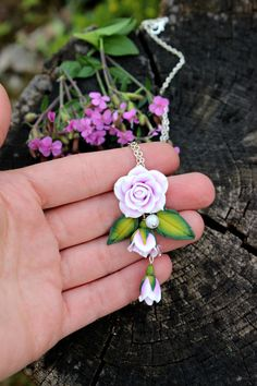 Roses pendant made from polymer clay  by PolymerFlorejewellry