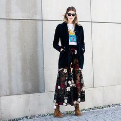 SO into this sheer skirt + cardigan pairing.