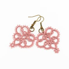 Delicate lace earrings lace jewelry in dusty rose pink - summer fashion. $24.99, via Etsy.