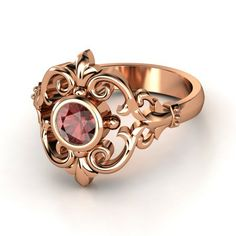 ♥ | Winter Palace Ring, 14K Rose Gold, Red Garnet center stone | The scrolls and curves of this elegant ring are inspired by the ornate wrought-iron gates to a Winter palace in Europe