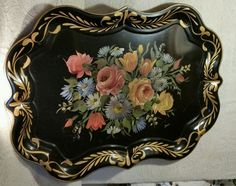 """VTG HUGE LARGE SIGNED HAND PAINTED FLOWERS TOLE TRAY TOLEWARE 27"""" x 19.5""""  #NASHCO"""