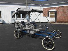 Rhoads Car 4 wheel Bike with canopy Surrey top Rickshaw pedicab Fits 4 people!
